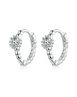 Expression of Love Shining Cubic Zirconia Wholesale 925 Sterling Silver Jewelry Huggie Hoop Earrings