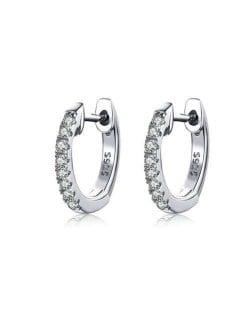 Wholesale Cubic Zirconia Small Hoop Minimalist Design 925 Sterling Silver Jewelry Huggie Earrings - Silver
