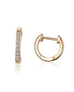 Wholesale Cubic Zirconia Small Hoop Minimalist Design 925 Sterling Silver Jewelry Huggie Earrings - Rose Gold