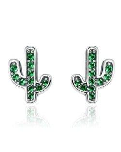 Green Cubic Zirconia Cactus Modeling Wholesale 925 Sterling Silver Earrings