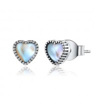 Wholesale 925 Sterling Silver Jewelry Mini Glass Heart Design Women Earrings