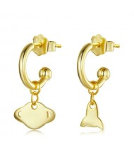 Planet and Rocket Design Cartoon Fashion 925 Sterling Silver Earrings - Golden