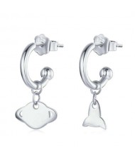 Planet and Rocket Design Cartoon Fashion 925 Sterling Silver Earrings - Silver