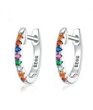 Multicolor Cubic Zirconia Wholesale 925 Sterling Silver Jewelry Small Hoop Huggie Earrings