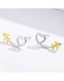 Minimalist Design Cartoon Airplane and Golden Heart Wholesale 925 Sterling Silver Earrings
