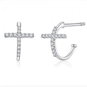 Minimalist Jewelry Classic Cross Cubic Zirconia Wholesale 925 Sterling Silver Earrings