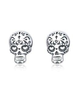 Popular Halloween Jewelry Punk Skull Design Wholesale 925 Sterling Silver Earrings