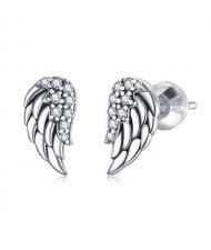 Cute Angel Wings Design Wholesale 925 Sterling Silver Jewelry Cubic Zirconia Ear Studs