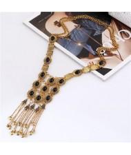 Gems Embellished Chunky Vintage Style Tassel Chains Design Long Fashion Costume Necklace - Golden and Black