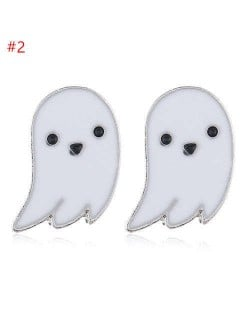Wholesale Halloween Fashion Jewelry White Ghost Oil-spot Glazed Earrings