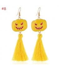 Wholesale Halloween Jewelry Eye-catching Yellow Pumpkin Tassel Long Women Earrings