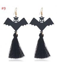 Unique Horror Design Flying Black Bat Halloween Jewelry Wholesale Tassel Earrings