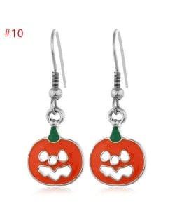 Fashion Halloween Theme Wholesale Jewelry Hollow-out Pumpkin Grimace Statement Hook Earrings