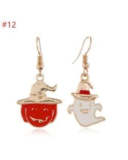 Funny Halloween Jewelry Pumpkin and Ghost Asymmetric Wholesale Women Enamel Earrings