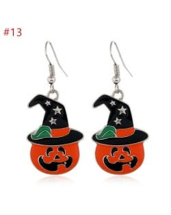 Halloween Series Pumpkin with Hat Design High Fashion Statement Wholesale Earrings