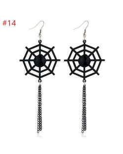 Wholesale Jewerly Spider Web with Long Chain Tassel Halloween Costume Earrings