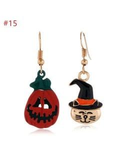 Popular Halloween Jewelry Skull Pumpkin and Cat Asymmetric Wholesale Earrings