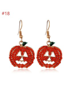 Rhinestone Inserted Shining Hollow-out Bling Pumpkin Classic Design Halloween Wholesale Earrings