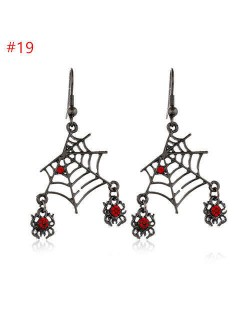 Funny Halloween Theme Wholesale Jewelry Red Rhinestone Decorated Spiders and Web Statement Earrings