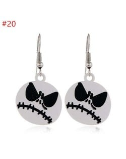 Fearsome Halloween Jewelry Angry White Skull Head Wholesale Fashion Earrings