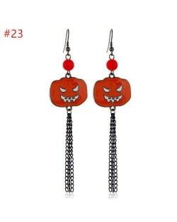 Halloween Wholesale Jewelry Angry Pumpkin with Long Tassel Chain Costume Earrings