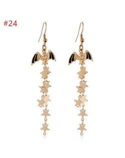 Halloween Jewelry Bat with Long Golden Alloy Stars Tassel Chain Wholesale Costume Earrings