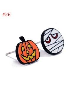 Fashion Halloween Theme Wholesale Jewelry Pumpkin and Mummy Asymmetric Costume Ear Studs