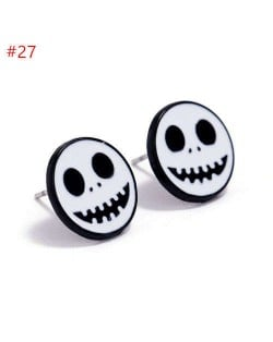 Funny White Little Skull Modeling Halloween Theme Wholesale Jewelry Costume Ear Studs