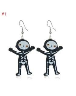 Wholesale Fashion Jewelry Halloween Series Creative Design Resin Hook Earrings - Funny Skull