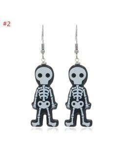 Wholesale Fashion Jewelry Halloween Series Creative Design Resin Hook Earrings - Cute Skull