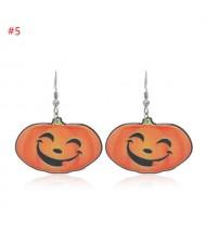Wholesale Fashion Jewelry Halloween Series Creative Design Resin Hook Earrings - Smiling Pumpkin