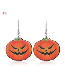 Wholesale Fashion Jewelry Halloween Series Creative Design Resin Hook Earrings - Evil Pumpkin