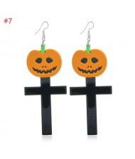 Wholesale Fashion Jewelry Halloween Series Creative Design Resin Hook Earrings - Pumpkin Cross