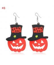 Wholesale Fashion Jewelry Halloween Series Creative Design Resin Hook Earrings - Pumpkin Wearing Hat