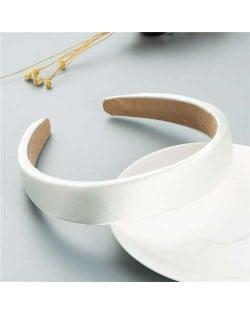 Korean Candy Color Minimalist Design Smoothy Silky Women Hair Hoop - White