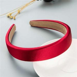 Korean Candy Color Minimalist Design Smoothy Silky Women Hair Hoop - Red