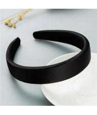 Korean Candy Color Minimalist Design Smoothy Silky Women Hair Hoop - Black