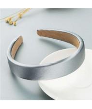 Korean Candy Color Minimalist Design Smoothy Silky Women Hair Hoop - Silver