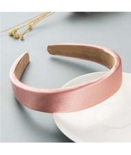 Korean Candy Color Minimalist Design Smoothy Silky Women Hair Hoop - Pink