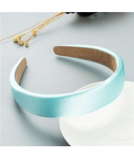 Korean Candy Color Minimalist Design Smoothy Silky Women Hair Hoop - Light Blue