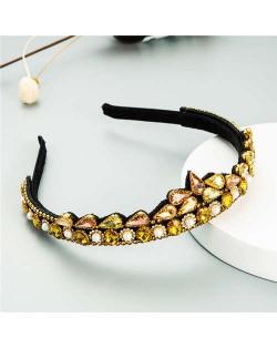 Rhinestone Inlaid Princess Crown Style Flower Design Elegant Hair Hoop - Yellow