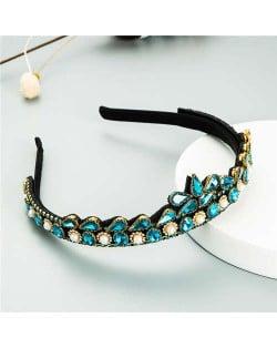 Rhinestone Inlaid Princess Crown Style Flower Design Elegant Hair Hoop - Blue