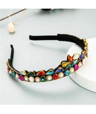 Rhinestone Inlaid Princess Crown Style Flower Design Elegant Hair Hoop - Multicolor