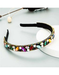 Baroque Style Shining Rhinestone Embellished Korean Fashion Hair Hoop - Multicolor