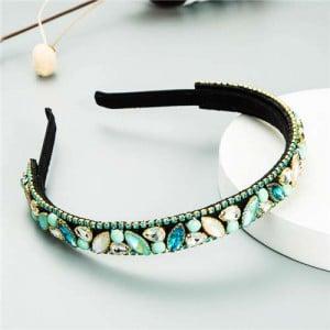 Baroque Style Shining Rhinestone Embellished Korean Fashion Hair Hoop - Light Blue