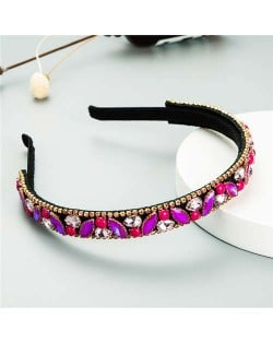 Baroque Style Shining Rhinestone Embellished Korean Fashion Hair Hoop - Purple