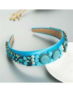Cookies and Flowers Embellished Colorful Rhinestones Baroque Design Women Hair Hoop - Blue