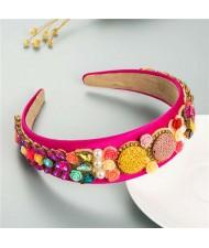 Cookies and Flowers Embellished Colorful Rhinestones Baroque Design Women Hair Hoop - Rose