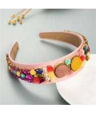 Cookies and Flowers Embellished Colorful Rhinestones Baroque Design Women Hair Hoop - Pink
