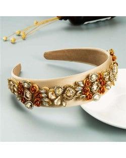Royal Flower Inlaid Rinestone European Fashion Women Hair Hoop - Brown
